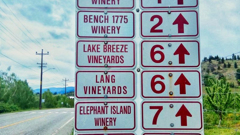 A sign for wineries in Okanagan Valley